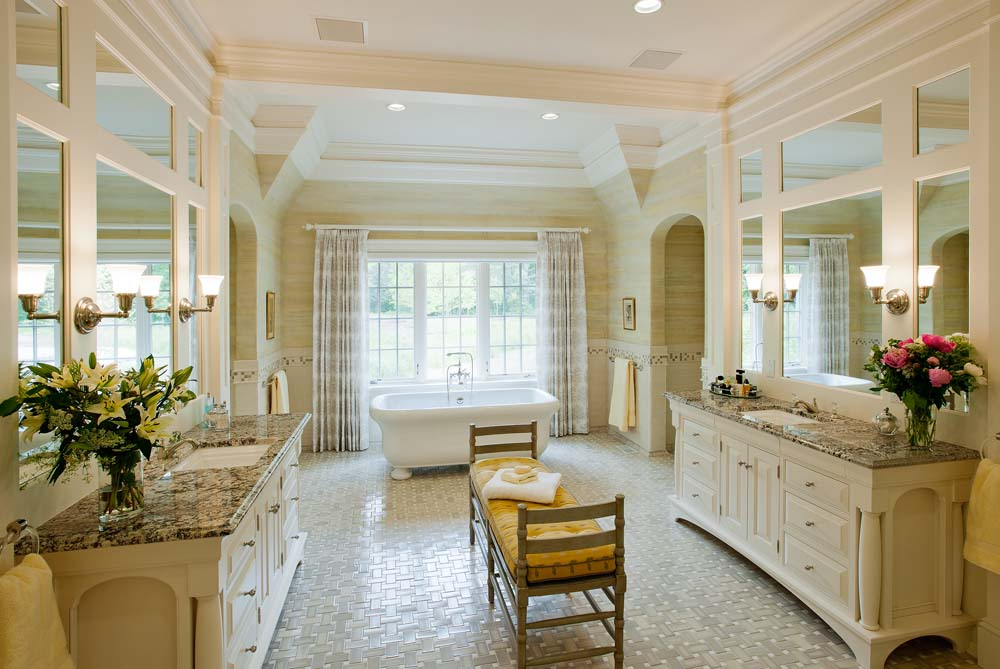 Custom master bath cabinetry by Crown Point Cabinetry