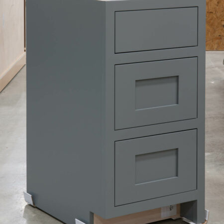 Three Drawer Base With Reduced Width Top Drawer - Left Side