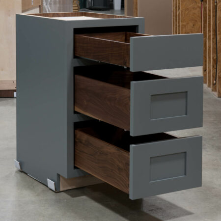 Three Drawer Base With Reduced Width Top Drawer - Drawers Open