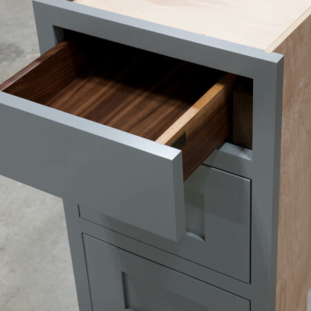 Three Drawer Base With Reduced Width Top Drawer - Top Drawer Detail