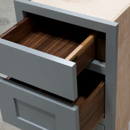 Three Drawer Base With Reduced Width Top Drawer - Comparison Top Drawer To Second Drawer