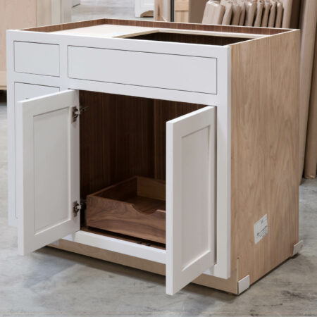 Sink Base with Roll Out Drawer - Butt Doors Open