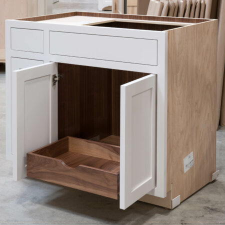 Sink Base with Roll Out Drawer - Roll Out Open