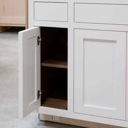 Sink Base with Roll Out Drawer - Single Door Open