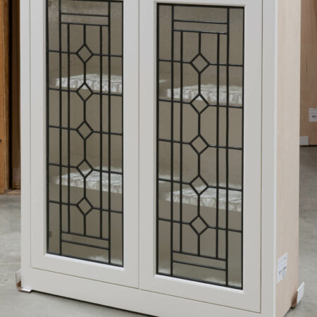 Wall Cabinet with Leaded Glass Doors - Right Side View