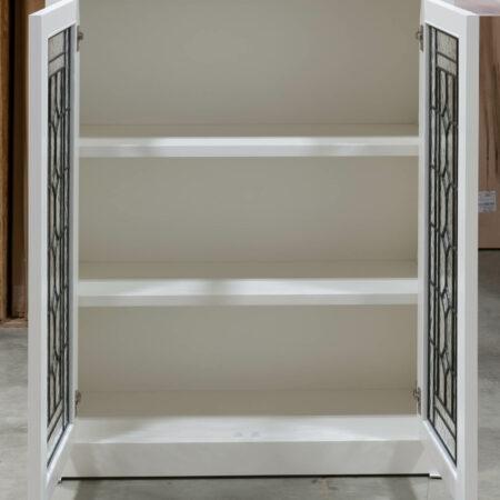 Wall Cabinet with Leaded Glass Doors - Doors Open