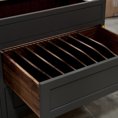Two Drawer Base - Pan Storage and Pull Out - Top Drawer Open, Opposite Angle