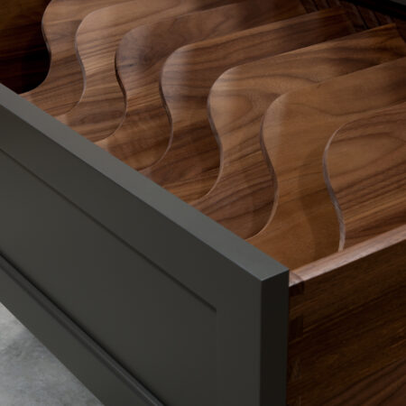 Two Drawer Base - Pan Storage and Pull Out - Bottom Drawer Open