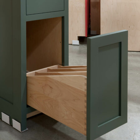 Base Cabinet with Tray Drawer - Tray Drawer Open