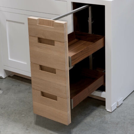 Base Cabinet With Drawer Fronts as Pullout Door - Pullout Door Open