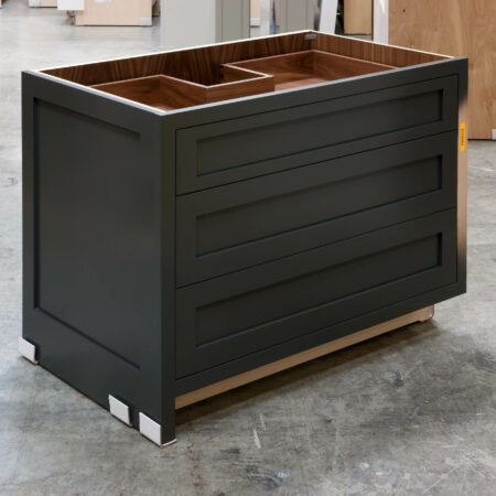 Three Drawer Base Cabinet with Pipe Chase - Left Side