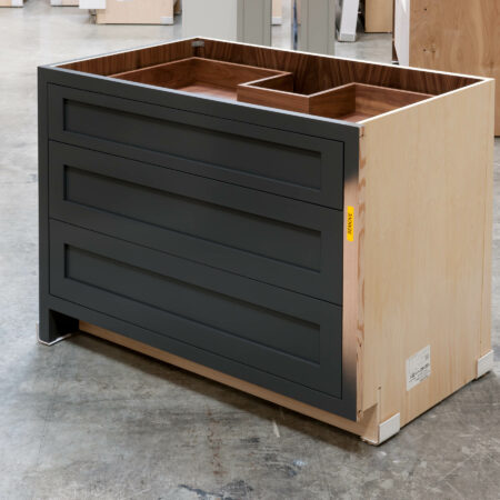 Three Drawer Base Cabinet with Pipe Chase - Right Side