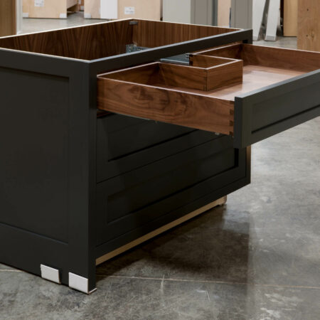Three Drawer Base Cabinet with Pipe Chase - Top Drawer Open