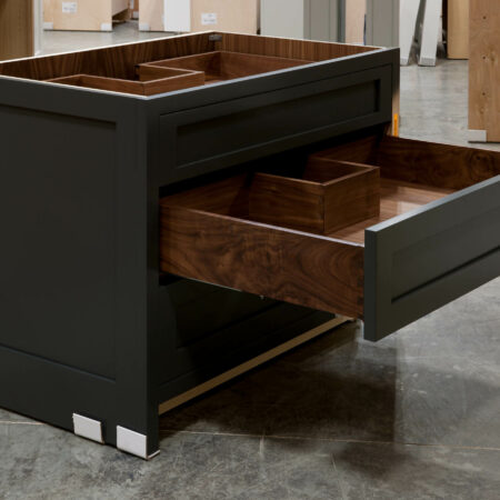 Three Drawer Base Cabinet with Pipe Chase - Middle Drawer Open