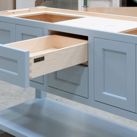 Four Post Sink Cabinet for Two Sinks - Top Drawer Open