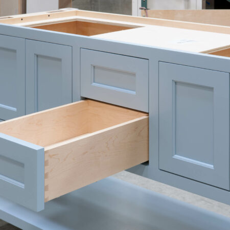 Four Post Sink Cabinet for Two Sinks - Bottom Drawer Open