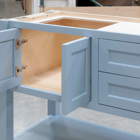 Four Post Sink Cabinet for Two Sinks - Left Set of Doors Open