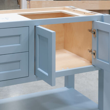 Four Post Sink Cabinet for Two Sinks - Right Set of Doors Open