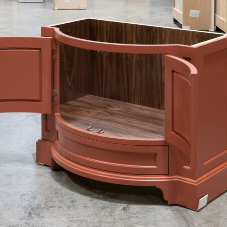 Curved Vanity Cabinet - Right Side, Doors Open