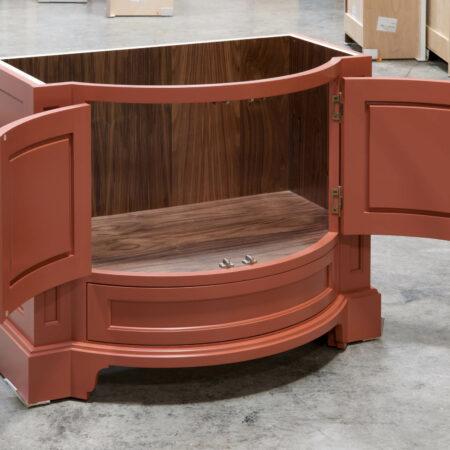 Curved Vanity Cabinet - Left Side, Doors Open