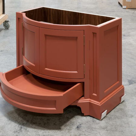Curved Vanity Cabinet - Drawer Open