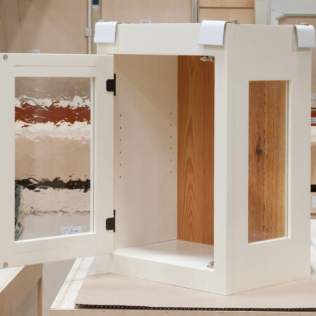 Small Wall Cabinet with Antique-Style Glass - Door Open
