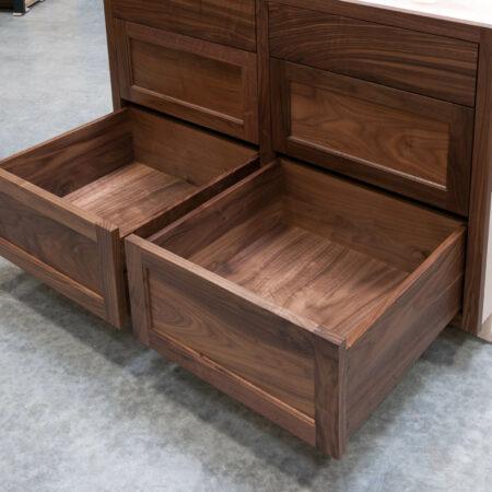 Six Drawer Base Cabinet - Bottom Drawers Open