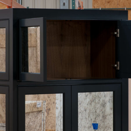 Tall Cabinet with Antique-Style Mirrors - Upper Doors Open