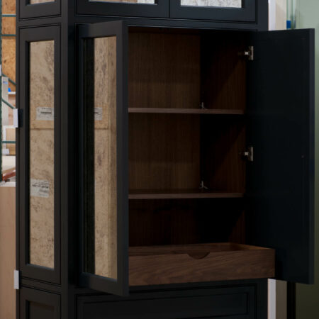Tall Cabinet with Antique-Style Mirrors - Middle Doors Open