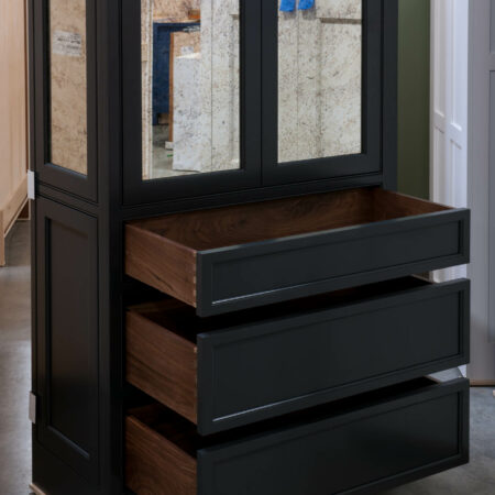Tall Cabinet with Antique-Style Mirrors - Drawers Open