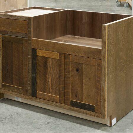 Reclaimed Hearty Hewn Oak Sink Base Cabinet - Right Side