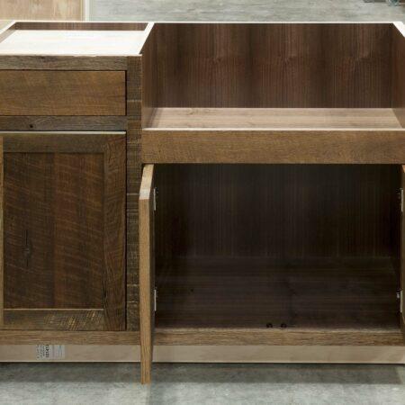 Reclaimed Hearty Hewn Oak Sink Base Cabinet - Doors Open