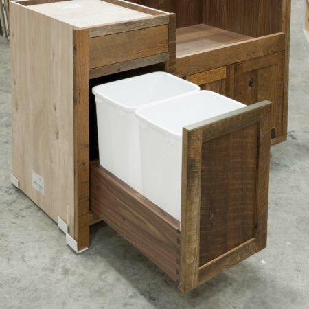 Reclaimed Hearty Hewn Oak Sink Base Cabinet - Recycling Center Open
