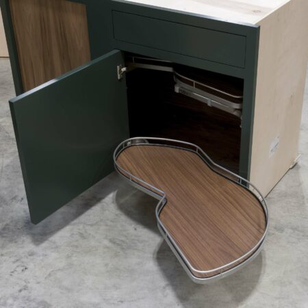 Blind Base Cabinet with Lemans Corner Pullout - Bottom Pullout Open