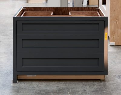 Three Drawer Base Cabinet with Pipe Chase