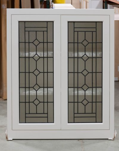 Wall Cabinet with Leaded Glass Doors