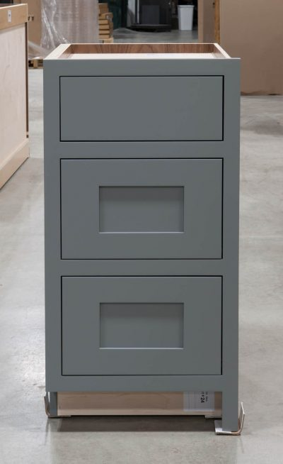 Three Drawer Base With Reduced Width Top Drawer