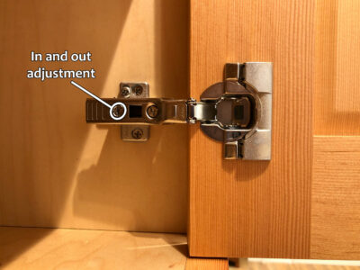 Blum hinge adjustment - In and out adjustment